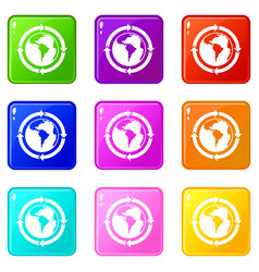 Round arrows around world planet icons 9 set vector