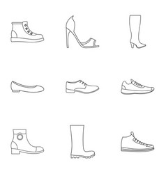 sandal icons set outline style vector image