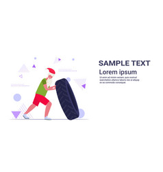 santa claus flipping tire doing hard exercises vector image