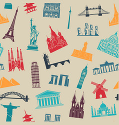 seamless background with tourist attractions and vector image