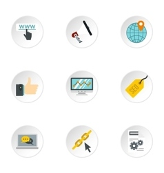 SEO promotion icons set flat style vector