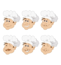 Set cartoon heads chef in a toque caps vector
