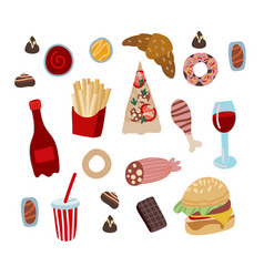 set fast food such as hamburger donuts and vector image
