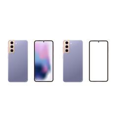 Set realistic modern frameless smartphone vector