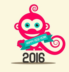 Simple Happy New Year 2016 with Monkey and Ribbon vector image