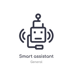 Smart assistant outline icon isolated line from vector