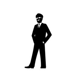 smiling businessman silhouette vector image