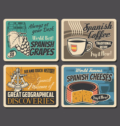 spanish culture coffee cheese and vine grapes vector image
