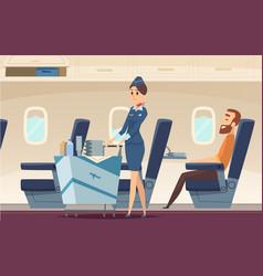 Stewardess background avia company persons vector