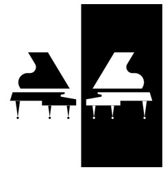 stylized two grand piano black and white vector image