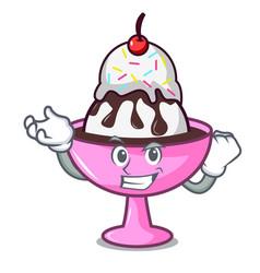 Successful ice cream sundae character cartoon vector