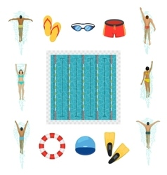 Swimmer and swimming pool flat icons vector