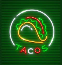 tacos neon emblem mexican vector image