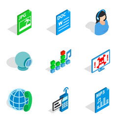 Technical novelty icons set isometric style vector
