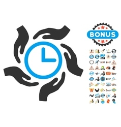 Time Care Icon With 2017 Year Bonus Symbols vector