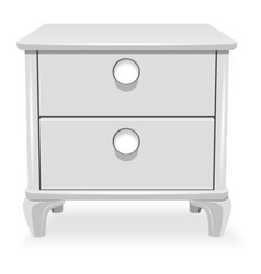 White nightstand icon realistic style vector