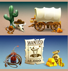 wild west horizontal banners vector image