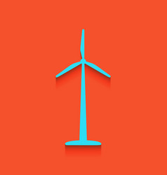 wind turbine logo or sign whitish icon on vector image