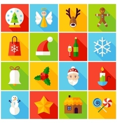 Winter Christmas Colorful Icons vector image