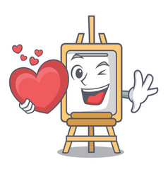 with heart easel mascot cartoon style vector image