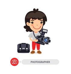 Woman photographer cartoon character vector