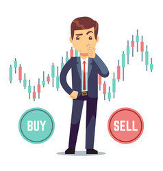 Young man trader and business candlestick chart vector