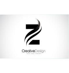Z letter logo design brush paint stroke vector