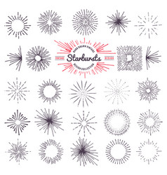 collection of trendy hand drawn retro sunburst vector image