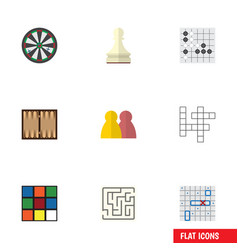flat icon games set of people guess sea fight vector image vector image