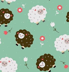 Funny seamless pattern with sheeps and flowers vector image vector image
