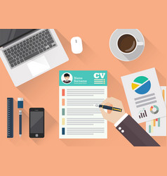 hand writing curriculum vitae application paper vector image vector image