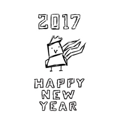 Happy new year poster Funny sketch of cartoon vector image