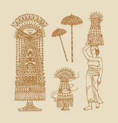 Lamak Balinese Element Decorations vector image