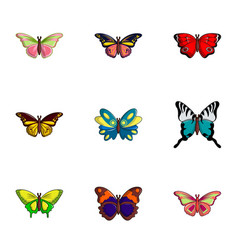 types of butterfly icons set flat style vector image