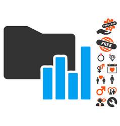 Charts folder icon with love bonus vector