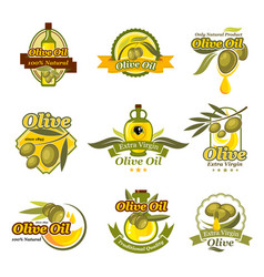 olive oil product labels set of olives vector image vector image