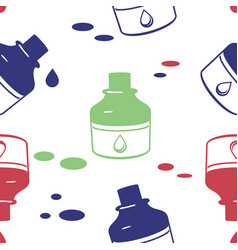 seamless pattern with ink bottle vector image vector image