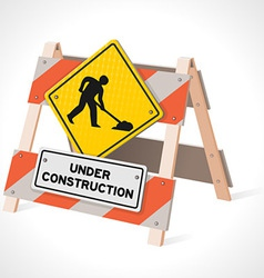 under construction road sign vector image vector image