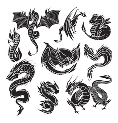 Chinese dragon silhouettes on white background vector image