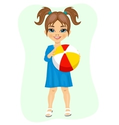 little girl holding an inflatable striped ball vector image
