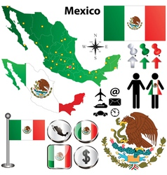 Mexico map with regions vector image