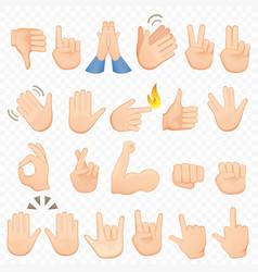 set of cartoon hands icons and symbols emoji hand vector image vector image