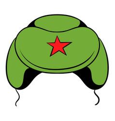 soviet military cap earflaps icon cartoon vector image