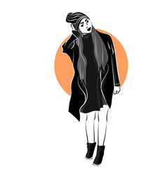 the girl in the black clothes on whire backgroun vector image vector image