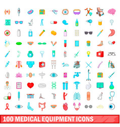 100 medical equipment icons set cartoon style vector image