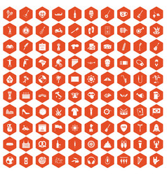 100 street festival icons hexagon orange vector