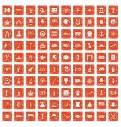 100 top hat icons set grunge orange vector image