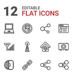 12 network icons vector image