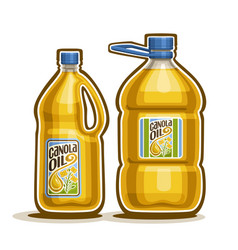 2 big yellow plastic bottles with canola oil vector