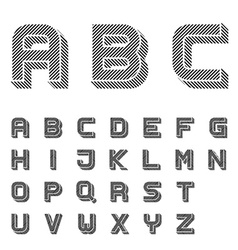 3D black striped font alphabet letters vector